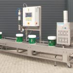 Automaitc gravimetric paint filling machine with lid closing